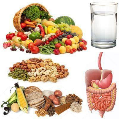 No incluir agua y fibra en la dieta